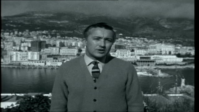 """monte carlo rally 1962; opening titles monaco: monte carlo: ext **music overlaid intermittently sot"""""""" reporter to camera car setting off europe:... - 北欧諸国点の映像素材/bロール"""
