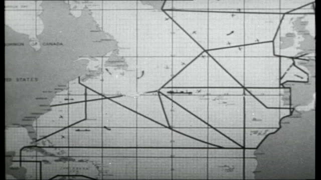 operation atlantic; usa: virginia: norfolk: nato supreme atlantic command atlantic hq: int briefing room with large map of the atlantic ocean on wall... - us navy stock videos & royalty-free footage