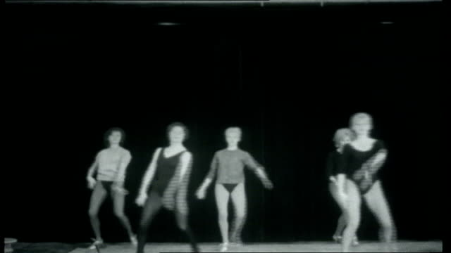 Paris Collection Dance group called the 'Bluebell Girls' practising with Margaret Kelly instructing them some close ups Margaret Kelly interview SOT...