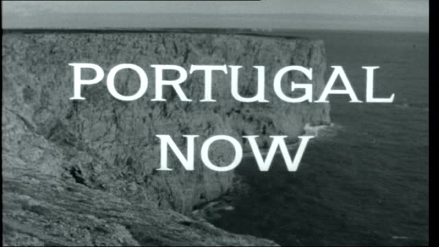 portugal now opening titles over views of the portuguese coastline waves breaking at cape st vincent coastline graphic map showing voyages of famous... - portuguese culture stock videos & royalty-free footage