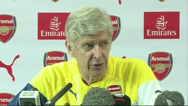 row between jose mourinho and arsene wenger continues; hertfordshire: london colney: arsene wenger press conference sot - the biggest thing of... - respect点の映像素材/bロール