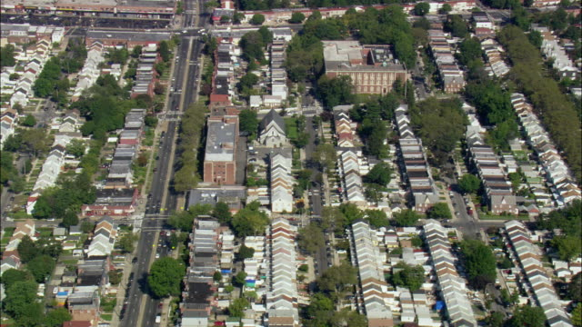 aerial row houses in bellrose terrace / hempstead, new york, usa - long island video stock e b–roll