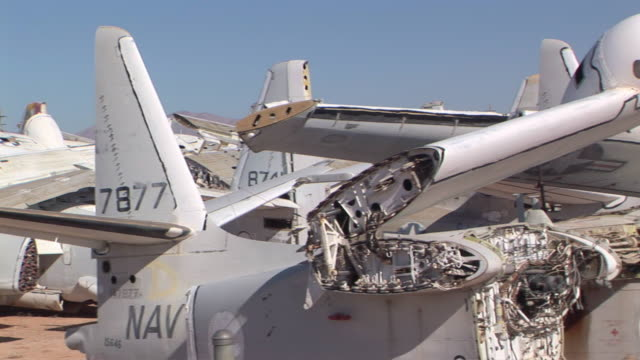 ms pan row of abandoned military airplanes at davis–monthan air force base / tucson, arizona, usa - abandoned stock videos & royalty-free footage