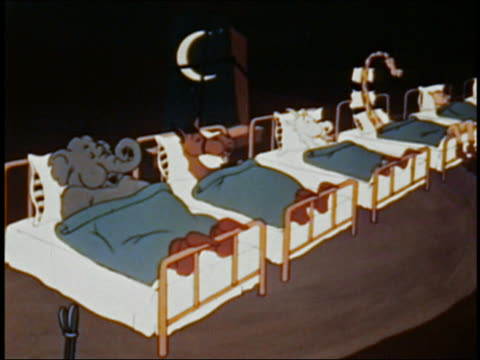animation row of animals sleep in bed at night snoring w/their blankets rolling up and down / audio - kopfkissen stock-videos und b-roll-filmmaterial