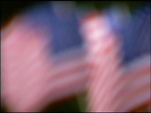 row of blowing american flags - einige gegenstände mittelgroße ansammlung stock-videos und b-roll-filmmaterial