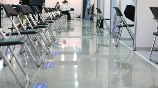 row of chairs at a job fair for the youths organized by the seongnam city government inside pangyo techno valley in seongnam, south korea, on... - employee engagement stock videos & royalty-free footage
