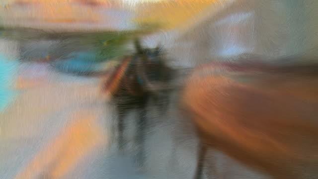 CGI Row of donkeys walking through village