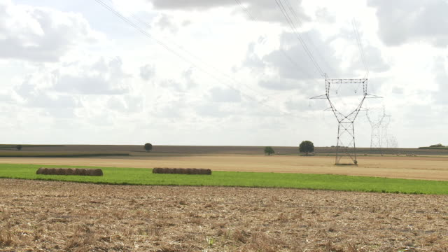 WS Row of electrical towers and power lines in agricultural setting in summer heat / Orleans, Central France, France