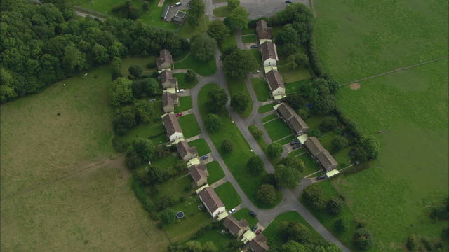 AERIAL Row of houses at Southwick / Hampshire, United Kingdom