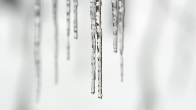 row of icicle melting with water dripping - icicle stock videos and b-roll footage