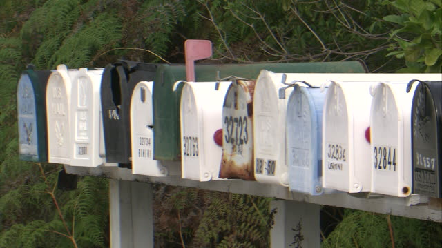 mscu  row of mailboxes  / florida keys, florida, usa - letterbox stock videos & royalty-free footage