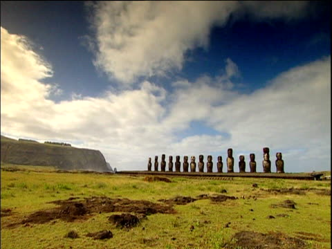 row of moai statues against cloudy blue sky easter island - polynesian culture stock videos & royalty-free footage