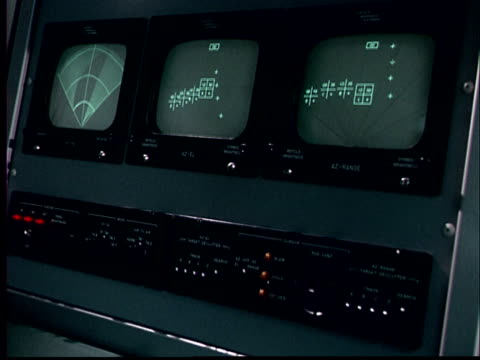 1970 ms row of monitors and controls/ cu of monitor with numbers moving on it - vintage computer monitor stock videos & royalty-free footage