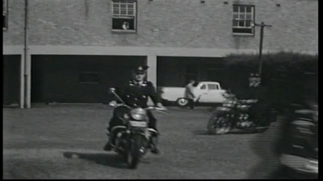 a row of nsw police motor bike trainees line up and are inspected by senior officers / trainee motorcycle police ride out past officers - police line up stock videos and b-roll footage