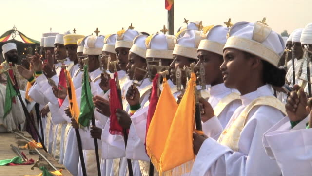 ms row of priests at procession of timka, ethiopian orthodox celebration of epiphany, addis ababa, ethiopia - cristianesimo video stock e b–roll