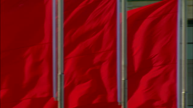 a row of red flags flaps in the wind. - bandiera video stock e b–roll
