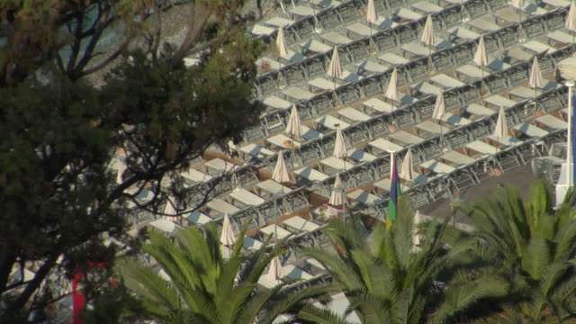 ms, ha, row of sun loungers on beach, nice, cote d'azur, france - fan palm tree stock videos and b-roll footage