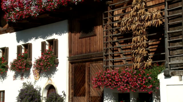 row of traditional houses with flower boxes in full bloom and traditional harvest cross  m - tyrol state austria stock videos and b-roll footage