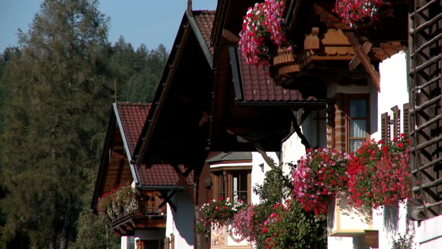 row of traditional houses with flower boxes in full bloom - window box stock videos and b-roll footage
