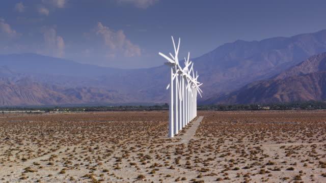 Row of Wind Turbines in San Gorgonio Pass - Drone Shot