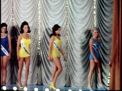 row of women on stage at miss california beauty contest, san francisco, california, usa - one piece swimsuit stock videos & royalty-free footage
