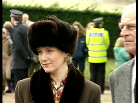row over comments made by countess of wessex to undercover reporter; lib norfolk: sandringham: ext cms sophie wearing fur hat pull out next prince... - sophie rhys jones, countess of wessex stock videos & royalty-free footage
