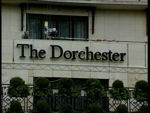 row over comments made by countess of wessex to undercover reporter; england: london: gv dorchester hotel the dorchester' sign over hotel window of... - peerage title stock videos & royalty-free footage