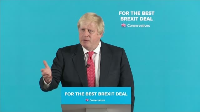 shildon civic hall int boris johnson press conference sot not only did we keep police numbers high in london with the help of theresa may for every... - boris johnson stock videos and b-roll footage