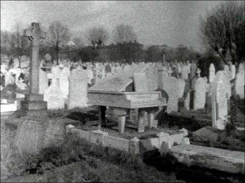 row over size of cemetery memorials; england: north london: highgate cemetery: ext various general views cemetery, graves, tombstones, memorial... - highgate stock videos & royalty-free footage
