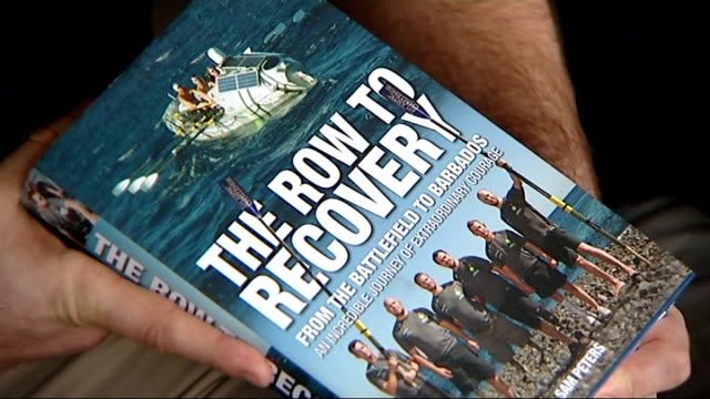 row2recovery crew speak about legacy of trans-atlantic rowing challenge; england: int will dixon laughing as reporter heard sot front cover of book... - book cover stock videos & royalty-free footage