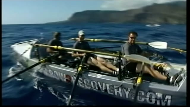 row2recovery crew speak about legacy of transatlantic rowing challenge t05121139 / tx spain canary islands ext row2recovery team rowing along at sea - atlantic islands stock videos & royalty-free footage