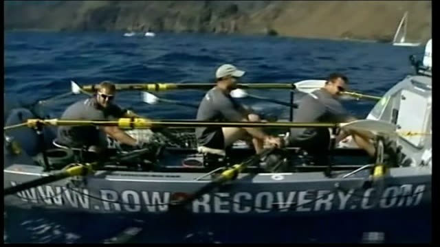 row2recovery transatlantic rowing challenge nears end lib spain canary islands row2recovery team rowing along at start of their transatlantic rowing... - atlantic islands stock videos & royalty-free footage