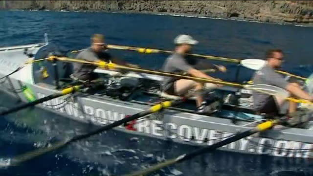 row2recovery transatlantic rowing challenge reaches destination t05121139 spain canary islands row2recovery team rowing along at start of their... - atlantic islands stock videos & royalty-free footage