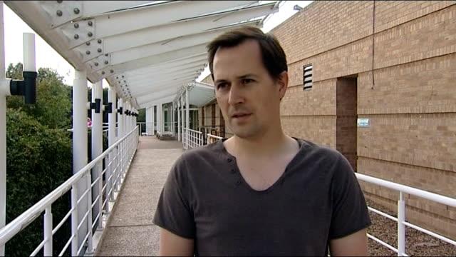 rowan atkinson crashes his sports car london chris chilton interview sot - ローワン アトキンソン点の映像素材/bロール