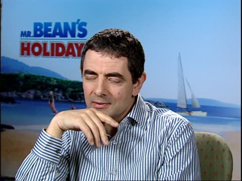 rowan atkinson talks about his new film mr bean's holiday england central london int rowan atkinson interview sot he's slightly smaller and sadder... - ローワン アトキンソン点の映像素材/bロール