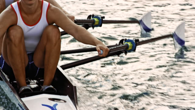 rowers in double scull in training - oar stock videos & royalty-free footage