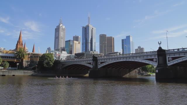 MS Rowers passing under princess bridge / Melbourne, Victoria, Australia