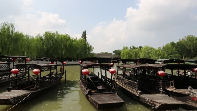 Rowing boats in port on the South Lake,Jiaxing,Zhejiang,China