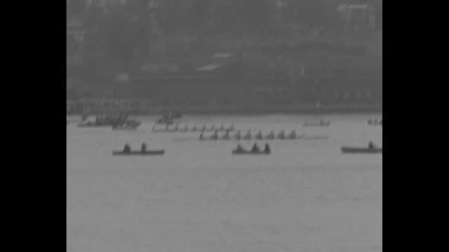 rowing crews starting race / people on observation car of train watching / crews racing / people on observation car watching / shot of crews racing... - university of california stock videos & royalty-free footage