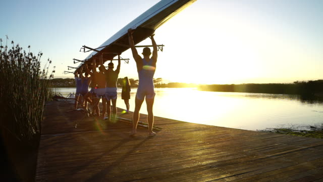 rowing eight team training on a lake at sunrise - paddeln stock-videos und b-roll-filmmaterial