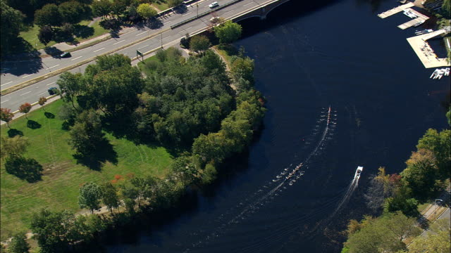 rowing eights on charles river  - aerial view - massachusetts,  middlesex county,  united states - river charles stock videos & royalty-free footage
