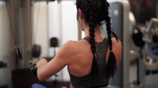 vídeos y material grabado en eventos de stock de rowing machine / mielec/ poland - espalda humana