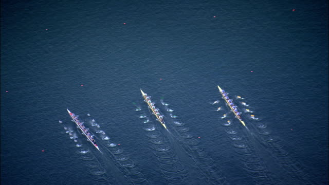 rowing sprint race for eights by ratzeburg  - aerial view - schleswig-holstein,  germany - rowing stock videos & royalty-free footage