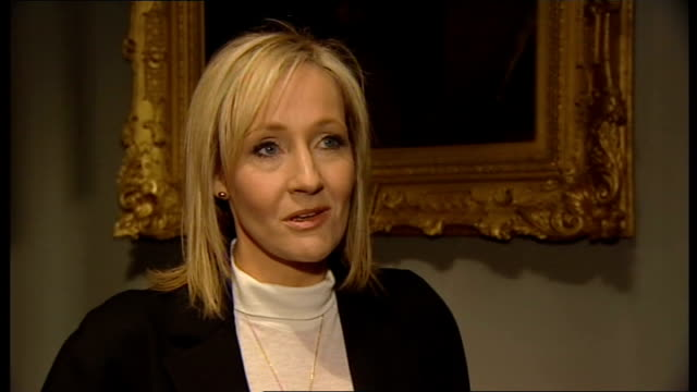 j k rowling at launch for 'tales of beedle the bard' jk rowling interview sot had idea of writing book as a thank you to key people / then realised... - j.k. rowling stock videos and b-roll footage