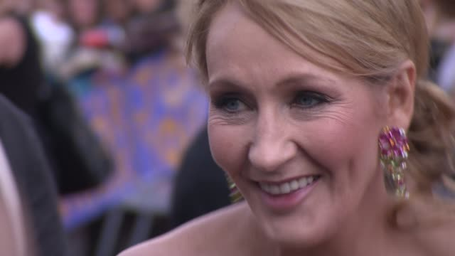 jk rowling at the harry potter and the deathly hallows part two world premiere at london england - j.k. rowling stock videos and b-roll footage