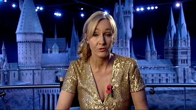 jk rowling auctions drawings for lumos charity england london gir rowling 2way interview from warner brothers studio sot - j.k. rowling stock videos and b-roll footage