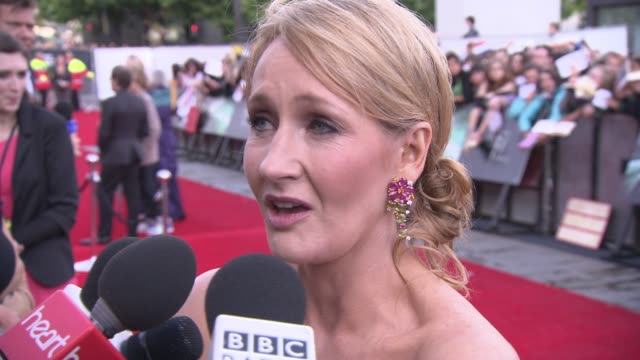 rowling on getting the film's right, working with an amazing team, a new script in 10 years at the harry potter and the deathly hallows part two... - premiere stock videos & royalty-free footage