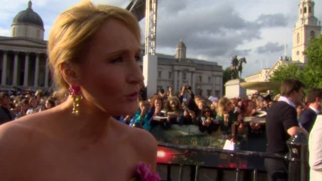 rowling on her future plans at the harry potter and the deathly hallows part two world premiere at london england - j.k. rowling stock videos and b-roll footage