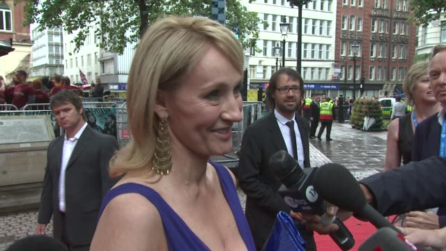 rowling on how she feels about harry potter being just as popular since the books ended at the harry potter and the halfblood prince at london england - j.k. rowling stock videos and b-roll footage