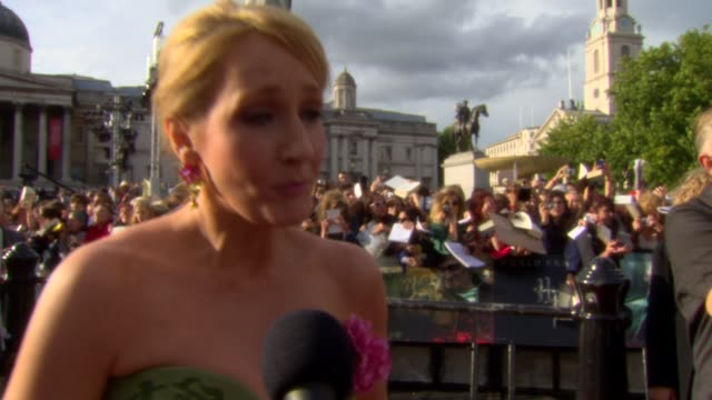 rowling on the dedication of fans at the harry potter and the deathly hallows part two world premiere at london england - j.k. rowling stock videos and b-roll footage